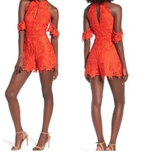 NWT $120 ASTR The Label Lolita Lace Romper Red